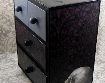 Skull and Raven Purple Gray Black Stash Jewelry Box