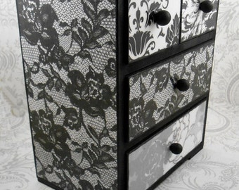 Black and White Lace and Damask Stash Jewelry Box