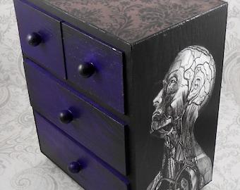 Black and Purple Vintage Anatomy Stash Jewelry Box