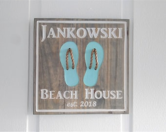 3fe1b7d74 Personalized Carved Wood Beach House Flip Flop Custom Sign Coastal Wall  Decor   Christmas Holiday Host Gift Living Bath Bedroom Cottage