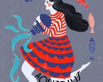 Aquarius Zodiac Symbol -  Lisa Congdon Archival Art Print