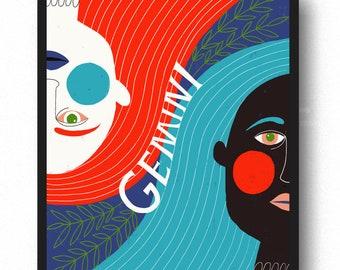 Gemini Zodiac Symbol -  Lisa Congdon Archival Art Print