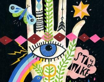 Stay Awake Art Print - Lisa Congdon