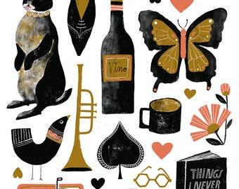 17 Things in 3 Colors -  Lisa Congdon Archival Art Print