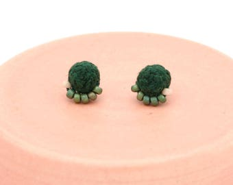 Braided Stud Earrings with Beads - Hunter Green & Blush Pink - Hand Sewn Beaded Earrings - Colorful Stud Earrings by Ashdel