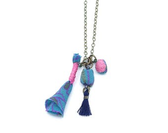 Fabric Beads Charm Necklace - Hand Sewn Fiber Art Necklace - Teal, Navy Blue, and Pink - Ashdel