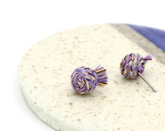 Braided Stud Earrings with Tassels - Multicolored Lavender, Lemon & Gold - Hand Sewn Thread Earrings by Ashdel
