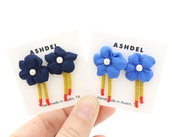 Vintage Textile Stud Earrings, Blue Flower Studs, Beaded Floral Studs, Eco Textile Jewelry, Southwest Bolo Style Earrings