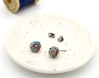 Braided Stud Earrings - Multicolored Cool Tones - Blue, Orange, Gold - Hand Sewn Earrings - Unique Stud Earrings - Titanium Posts