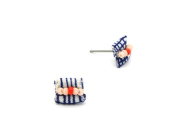 Vintage Fabric Stud Earrings - Navy Blue, Blush, and Red - Beaded Fabric Earrings - Ashdel