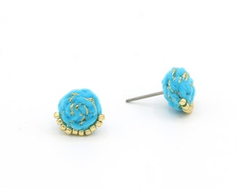 Velvet Braided Stud Earrings with Metallic Thread and Beads - Hand Sewn Earrings - Colorful Stud Earrings by Ashdel