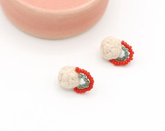 Hand Sewn Braided + Beaded Earrings - Light Blush Pink, Green, and Red - Ashdel