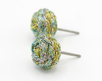 Mermaid Jewel Tones Braided Stud Earrings - Unique Stud Earrings - Colorful Metallic Earrings - Hand Sewn Metallic Thread Earrings - Ashdel