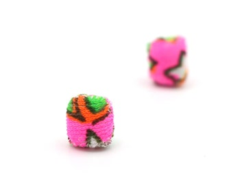 Neon Pink Micro Stud Earrings - Hand Sewn Vintage Fabric - Limited Edition Key West Collection