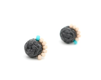Braided Stud Earrings with Beads - Hand Sewn Earrings - Colorful Beaded Stud Earrings - Gray, Blush, Turquoise - Ashdel