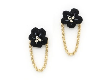 Flower Chain Studs (Black & Gold), Vintage Textile Stud Earrings, Black Flower Stud Earrings, Embroidered Floral Earrings with Chain