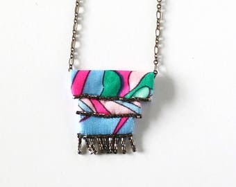 Hand Sewn, Beaded Fabric Necklace - Limited Edition Wavy Palms Collection