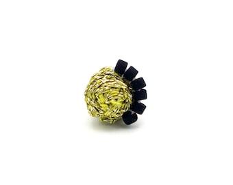 Woven Stud Earrings or Single Stud, Metallic Gold and Black Studs, Mismatched Stud Earring, Ashdel