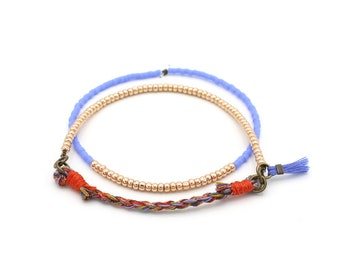 Collaged Layering Bracelets - Braided & Beaded Dainty Bracelets - Red, Copper, Periwinkle - Ashdel
