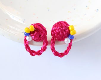 Collaged Braided Stud Earrings - Embroidered with Beads - Hand Sewn Earrings - Colorful Stud Earrings by Ashdel