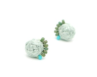 Braided Stud Earrings with Beads - Hand Sewn Earrings - Colorful Beaded Stud Earrings - Seafoam Green - Ashdel