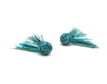 Braided Stud Earrings - Multicolored Thread Earrings in Cool Tones - Peacock Greens and Turquoise - Hand Sewn Earrings