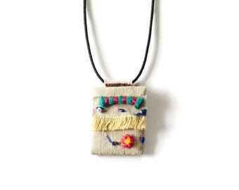 Collage Fabric Necklace - One of a Kind Embroidered Jewelry - Limited Edition Spontaneity Collection
