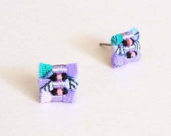 Firecracker Fabric Stud Earrings - Limited Edition Wavy Palms Collection
