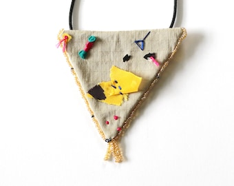 Collage Fabric Triangle Necklace - One of a Kind Embroidered Jewelry - Limited Edition Spontaneity Collection