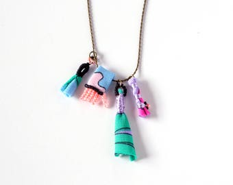 Hand Sewn, Fabric Beads Charm Necklace - Limited Edition Wavy Palms Collection