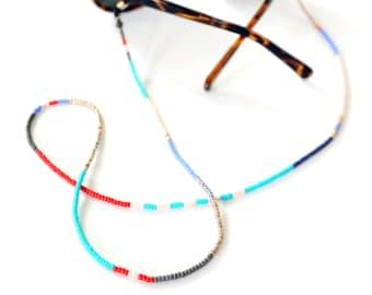 Beaded Eyewear & Mask Chain, Colorblock Beaded Sunglasses and Eyeglasses Chain, Japanese Glass Beaded Chain, Ashdel