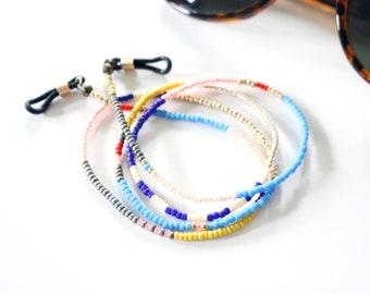Beaded Eyewear & Mask Holder Chain - Colorblock Beaded Chain - Color Mix No. 1 - Sunglasses Eyeglasses Chain - Japanese Glass Beads - Ashdel
