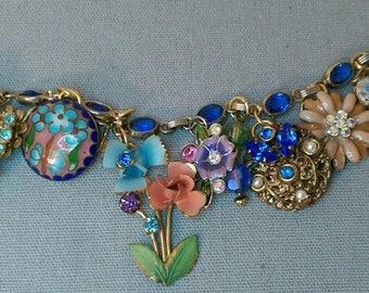 Repurposed Vintage Dark Blue Bracelet
