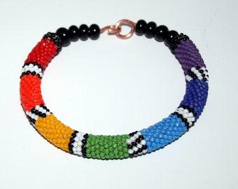 Handmade Bracelet Bead Crochet boho  Art Jewelry by Jeanniesbeads #5611
