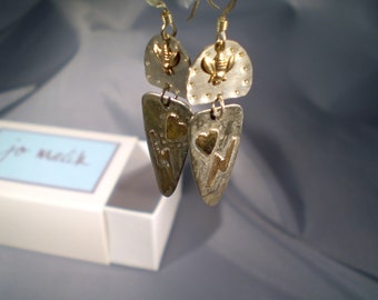 """Sterling Silver & 14k Gold """"Bees, Hearts, Bolts Earrings"""""""
