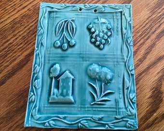 Turquoise German Springerle Mold Tile