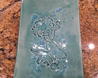 Little Mermaid with beach glass turquoise Plate