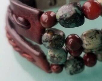 Kuende African Turquoise Cuff Bracelet, Men's Women's Gem Stone Bracelet, Beaded Cuff, Turquoise & Carnelian Beads, Tribal Gypsy Jewelry