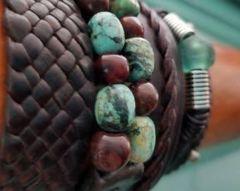 Lisa's Fave Leather Bracelets, Men's Women's Braided Leather Bracelet Set, Boho Hippie Gypsy Stack Set of Bracelets, African Turquoise Beads