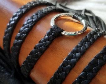 Zyanya Eternity Leather Necklace, Braided Leather Bracelet, Ring Leather Collar, Bohemian Multi Wrap Bracelet, Eternity Jewelry Discreet Day