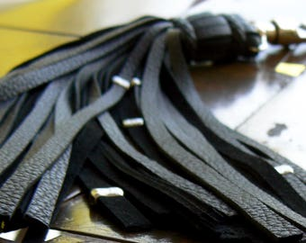 Malik Leather Flogger Keychain, Belt Loop Clip, Tassel Key Ring, Flogger Bag Purse Charm, Key Fob, Key Ring, Braided Leather, Belt Tassel