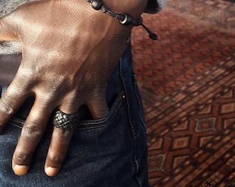 Chuma Leather Bracelet, Knot Leather Bracelet, African Trade Bead Bracelet, Men's Women's Adjustable Surfer Bracelet, Gypsy Bohemian Jewelry