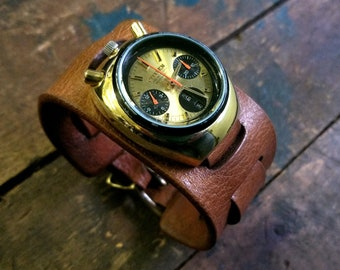 Bund US Military Watch STRAP, Wide Leather Aviator Watch Band, Brad Pitt Hollywood Inspired, Retro Vintage Style Watch Strap, Black Brown