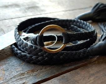 Eternity Leather Necklace / Braided Multi Wrap Bracelet, Zyanya Black Antique Brass Eternity Ring Leather Collar, Discreet Jewelry