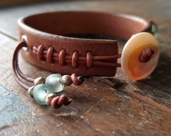 Cliff Booth Inspired Leather Bracelet - Once Upon a Time in Hollywood Brad Pitt Replica Cuff in NEW colors - Brown Tobacco & African Beads