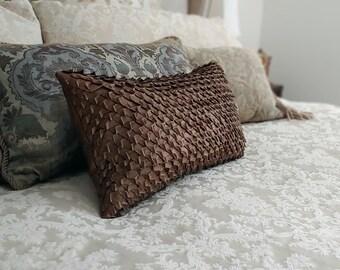 Leather Pillow, Leather Dragon Scales Decorative Pillow, Metallic Lambskin; Bronze, Silver, Gunmetal, White, 12 x 20 Designer Lumbar Pillow