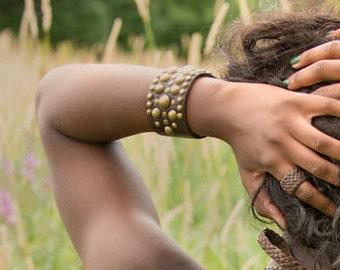 Midas Leather Cuff Bracelet, Men's Women's Wide Wrist Band, Tribal Gypsy Cuff Bracelet, Brass Silver, Black or Brown Leather, Biker Jewelry
