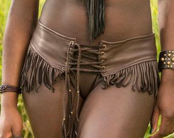 Kyra DEERSKIN Boy Shorts Panties, Native American African Style Clothing, Leather Lingerie, Fringe Bikini, Gypsy Hippie Tribal Primitive