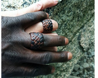 Kama Leather Ring, Braided Leather Ring, Men's Women's Leather Rings, Boho Woven Wedding Bands, Anniversary Engagement Valentines Jewelry