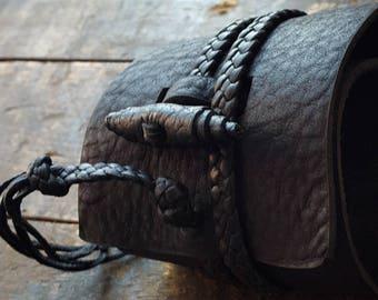BUSAJJA Wide Leather Cuff Bracelet, Jason Momoa Style Cuff, Men's Women's Wrist Wrap Bracelet, Gypsy Cowboy, Steampunk Hippie, Bohemian Man